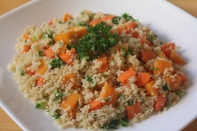 Steamed couscous and carrots sautéed with diced pumpkin, scallions, and Italian parsley.